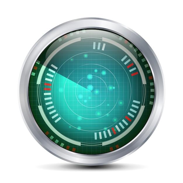 Vecteur d'écran radar. écran numérique avec carte du monde. contexte futuriste. Vecteur Premium