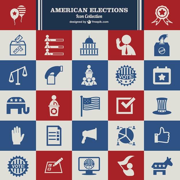 Vecteur des élections usa ensemble d'icônes Vecteur gratuit