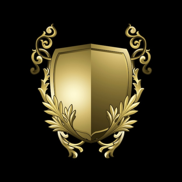 Vecteur d'éléments de bouclier baroque doré Vecteur gratuit