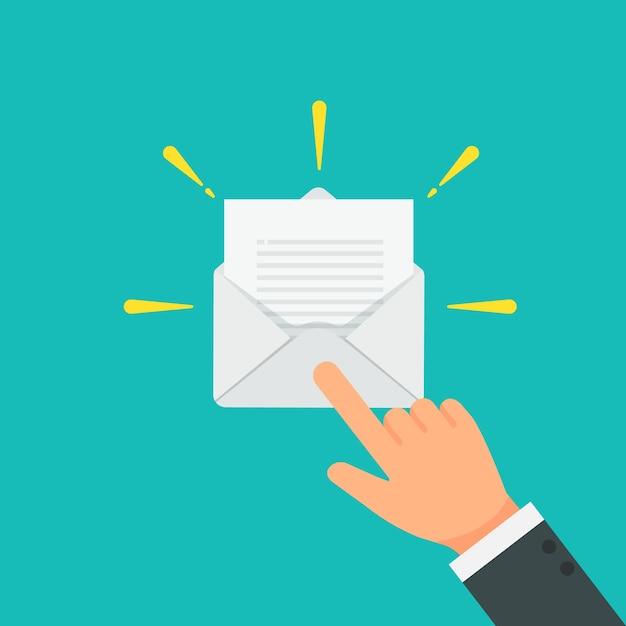 Vecteur d'email ouvert d'homme d'affaires Vecteur Premium