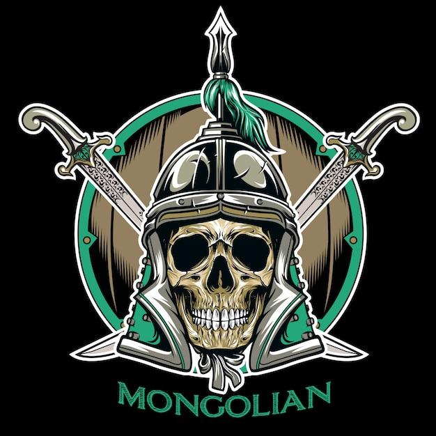 Vecteur de l'emblème guerrier crâne mongol Vecteur Premium