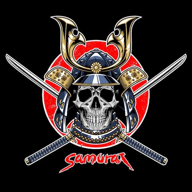 Vecteur de l'emblème guerrier samurai crâne Vecteur Premium