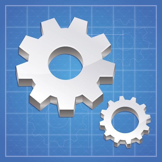 Vecteur engrenage - élément métallique Vecteur Premium