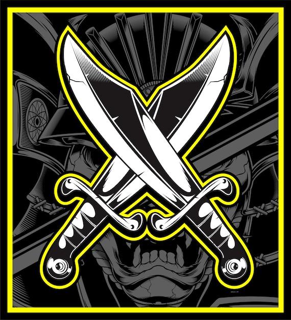 Vecteur d'épées croisées Vecteur Premium