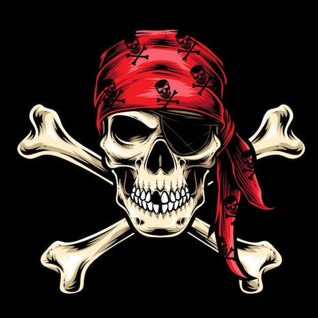 Vecteur d'équipage de crâne de pirate Vecteur Premium