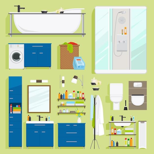 Vecteur d'équipement de salle de bain. Vecteur Premium