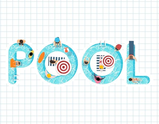 Vecteur De L'été Se Sentir Design Avec Le Mot Pool Vecteur gratuit