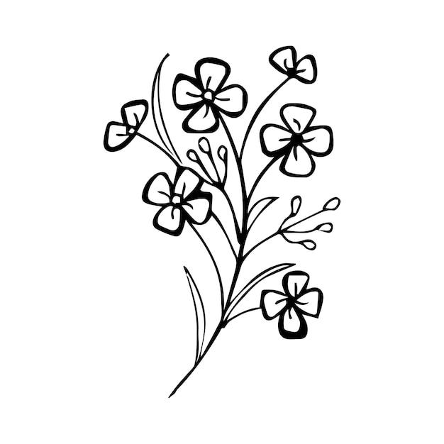 Vecteur fait main floral Vecteur Premium