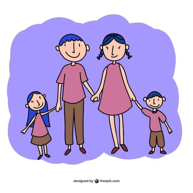 Vecteur famille dessin art libre Vecteur gratuit