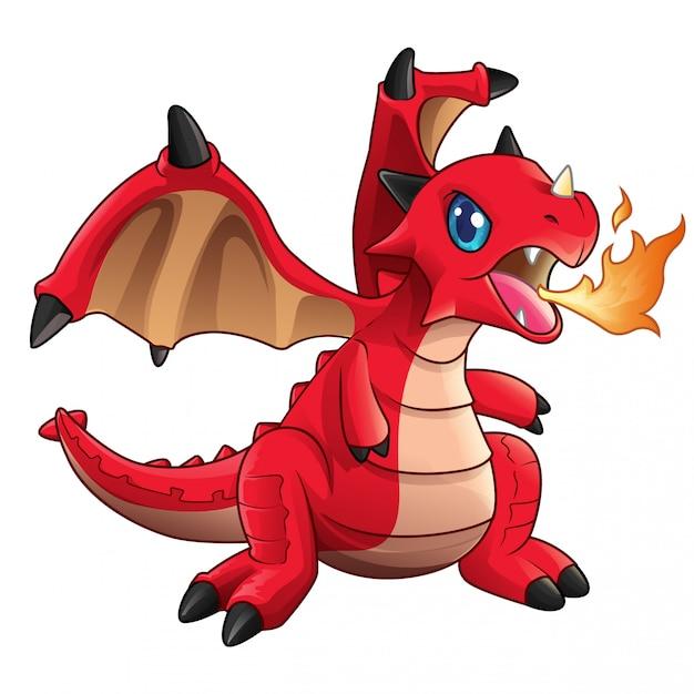 Vecteur de feu cracher dragon mignon bébé rouge Vecteur Premium