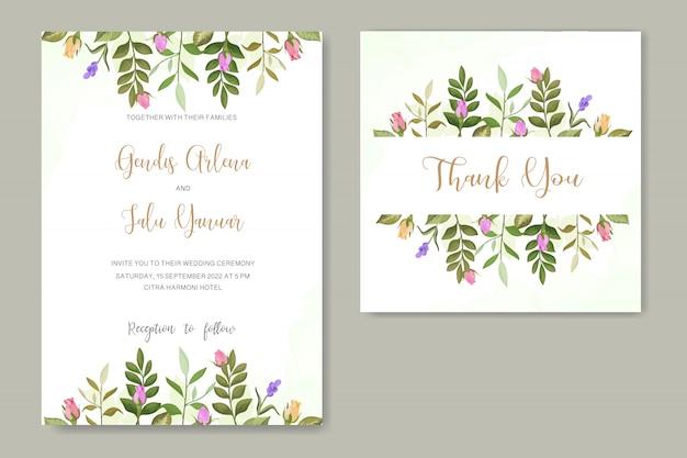 Vecteur de fleur rose invitation de mariage Vecteur Premium