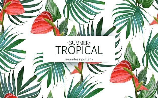 Vecteur des fleurs tropicales et palm feuilles modèle sans couture. Vecteur Premium