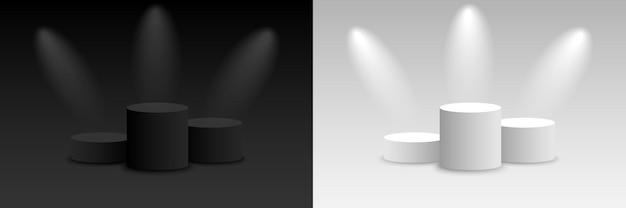 Vecteur De Fond 3d Rendu Sombre Et Clair Avec Podium. Piédestal De Plate-forme Sombre Et Clair Vide. Illustration Vectorielle Vecteur Premium
