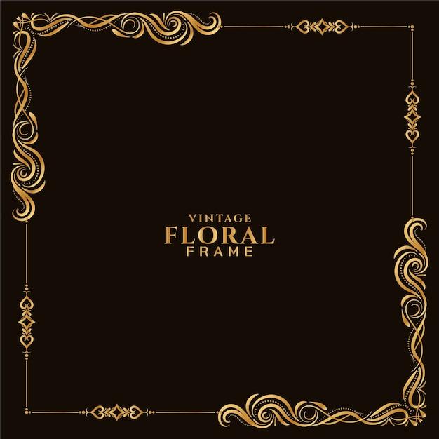 Vecteur De Fond Abstrait Cadre Floral Doré Vecteur gratuit