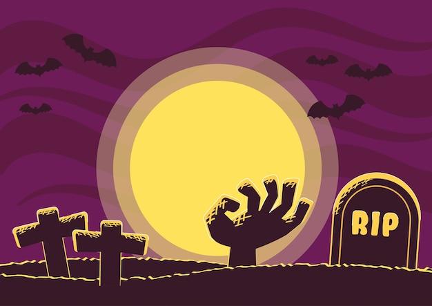Vecteur de fond de cimetière halloween fond illustration vectorielle Vecteur Premium