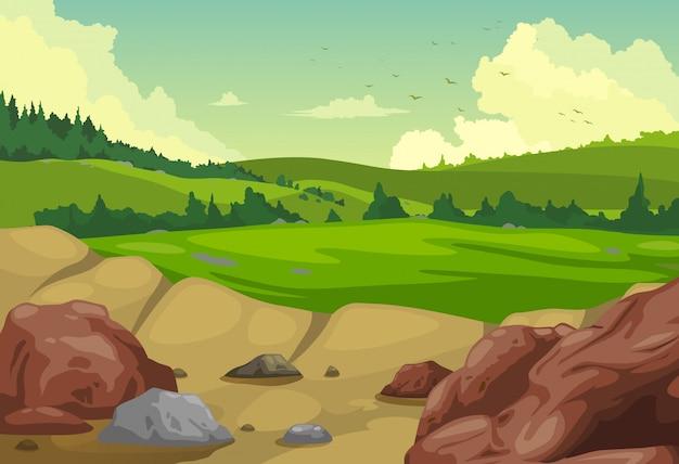Vecteur de fond de paysage de montagnes Vecteur Premium