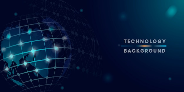 Vecteur De Fond De Technologie Futuriste Globe Bleu Vecteur gratuit