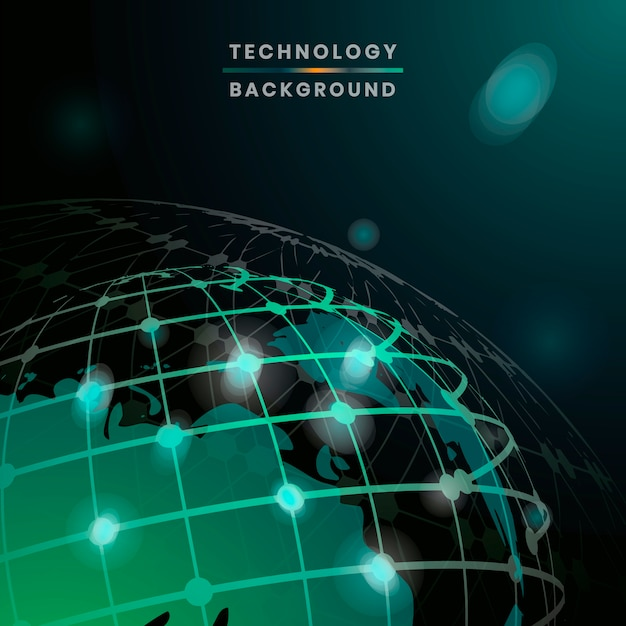 Vecteur de fond de technologie futuriste globe vert Vecteur gratuit