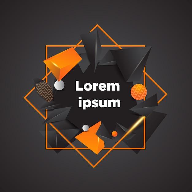 Vecteur de formes géométriques colorées abstraites 3d noir et or Vecteur Premium