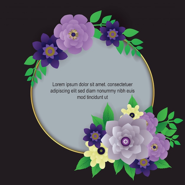 Vecteur de frontière belle fleur fond Vecteur Premium