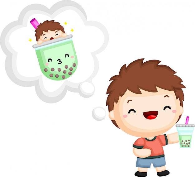 Un vecteur d'un garçon tenant un thé à bulles Vecteur Premium