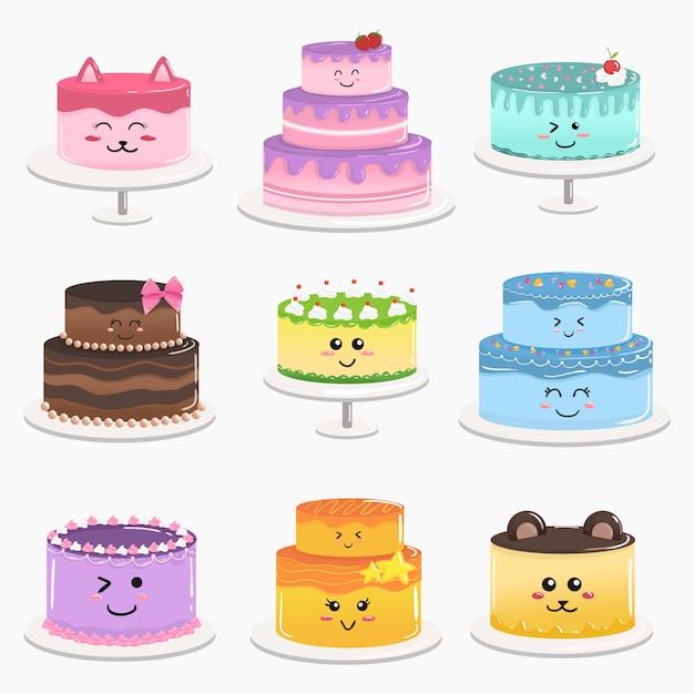Vecteur de gâteau d'anniversaire mignon kawaii doodle dessin animé Vecteur Premium