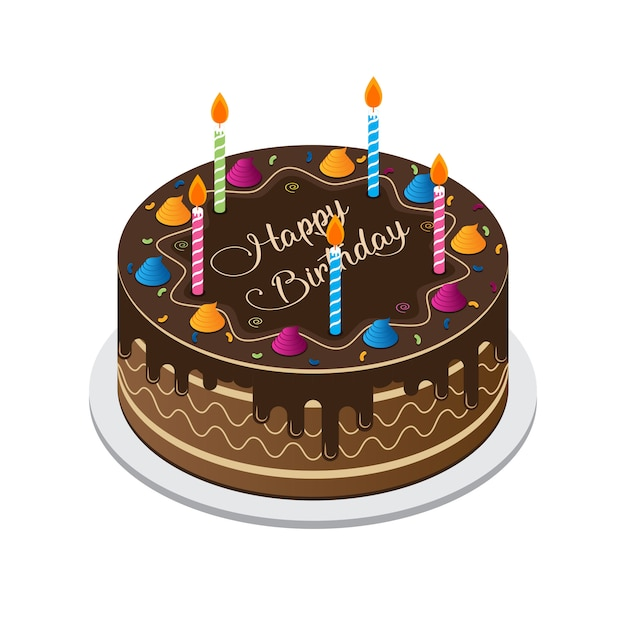 Vecteur de gâteau joyeux anniversaire Vecteur Premium