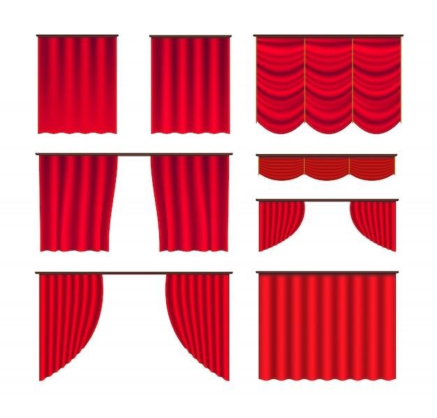 Vecteur grand ensemble de scène de rideau Vecteur Premium