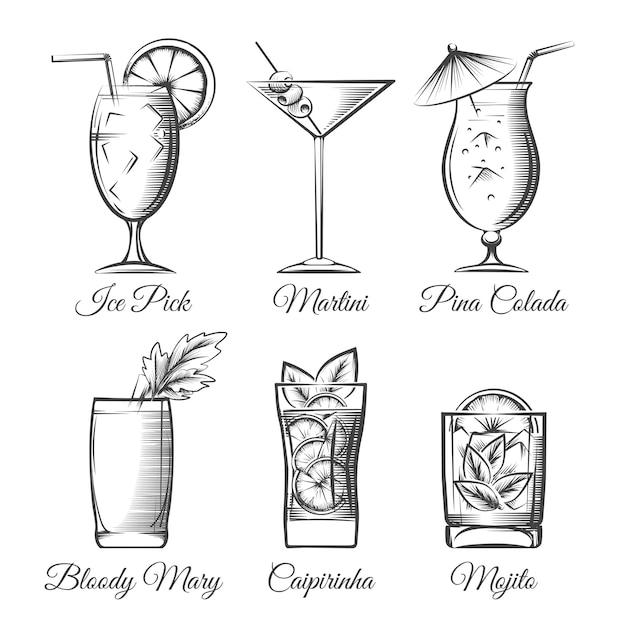 Vecteur de gravure de cocktails Vecteur Premium