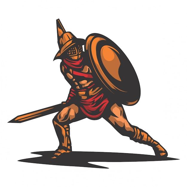 Vecteur de guerrier de défense sparta Vecteur Premium