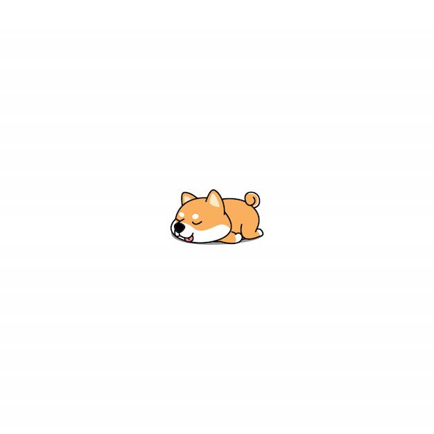 Vecteur d'icône de chiot paresseux shiba inu Vecteur Premium