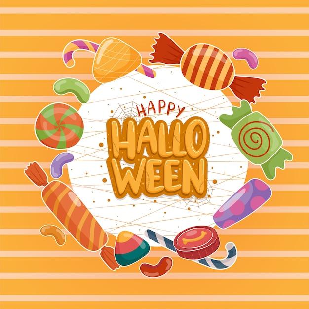 Vecteur D'icône Halloween Avec Des Bonbons Colorés Sur Fond Blanc-orange. Vecteur gratuit