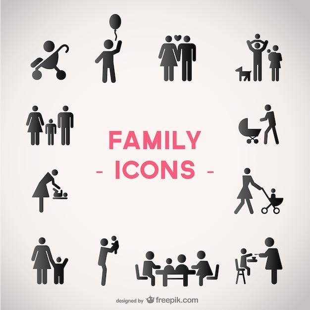 Vecteur Icônes De La Famille Mis En Vecteur Premium