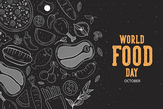 Vecteur d'illustration de la journée mondiale de l'alimentation Vecteur Premium