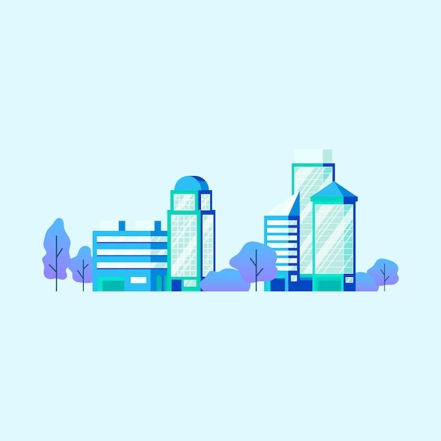 Vecteur d'immeubles de bureaux de haute technologie Vecteur gratuit