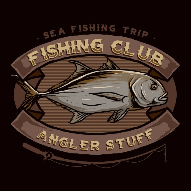 Vecteur de l'insigne du logo du club de pêche Vecteur Premium