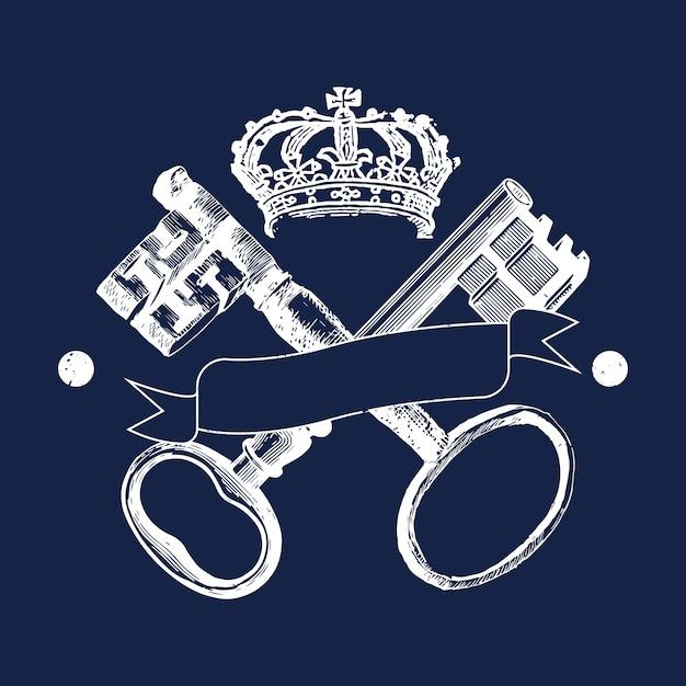 Vecteur d'insignes clés et couronne Vecteur gratuit