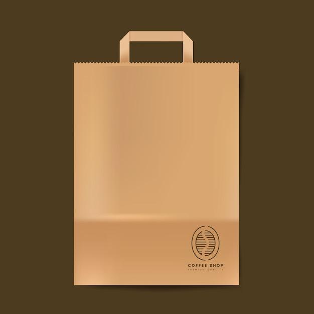 Vecteur isolé de la maquette de sac en papier Vecteur gratuit