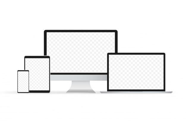 Vecteur isolé de portable. vecteur d'illustration de gadget. ordinateur moderne, ordinateur portable, smartphone Vecteur Premium