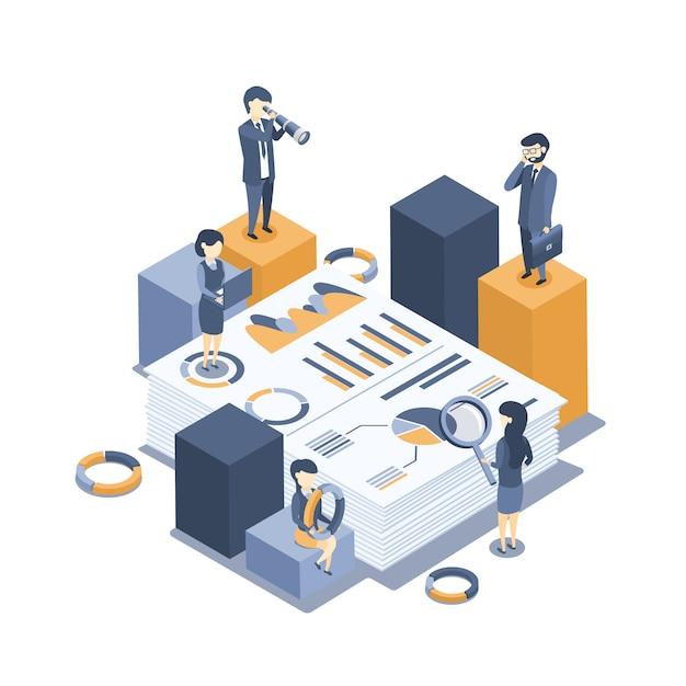 Vecteur isométrique le concept de l'audit des entreprises. analyse de statistiques, gestion, administration. Vecteur Premium