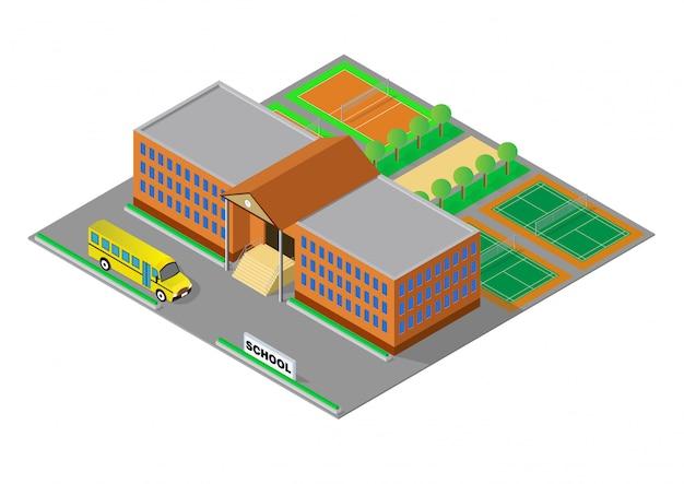 Vecteur isométrique école ou bâtiment universitaire Vecteur Premium