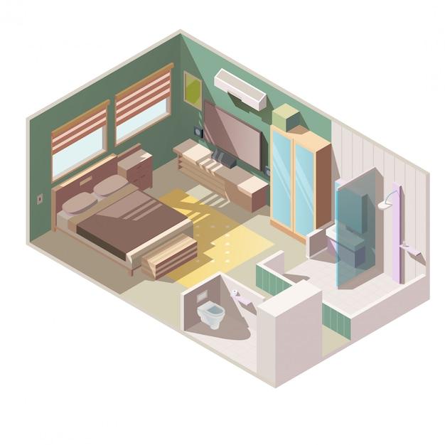 Vecteur Isométrique Intérieur Appartement Chambre Simple Vecteur gratuit