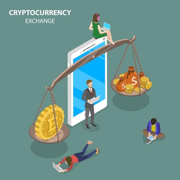 Vecteur Isométrique Plat D'échange De Crypto-monnaie. Vecteur Premium