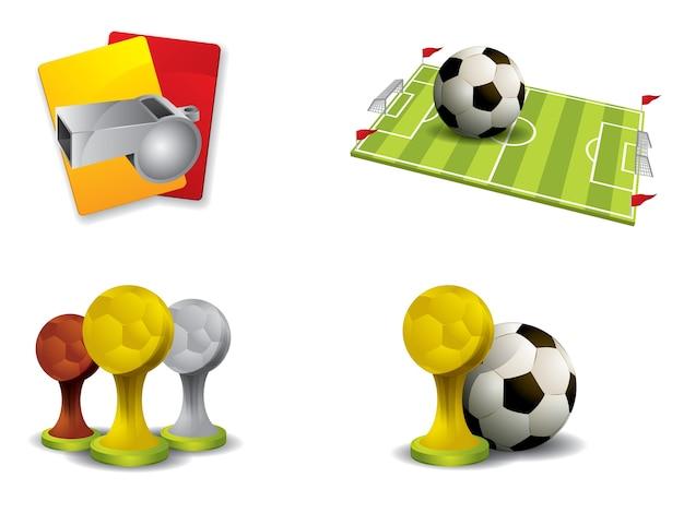 Vecteur de jeu d'icônes de football Vecteur Premium