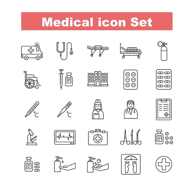 Vecteur de jeu d'icônes médicales Vecteur Premium
