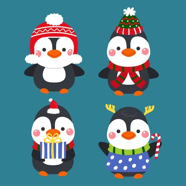 Vecteur de joyeux noël de pingouins de dessin animé mignon. Vecteur Premium