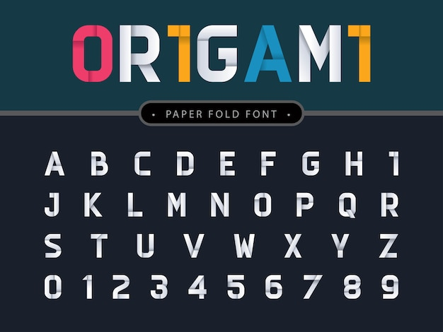 Vecteur des lettres et des chiffres de l'alphabet en origami Vecteur Premium