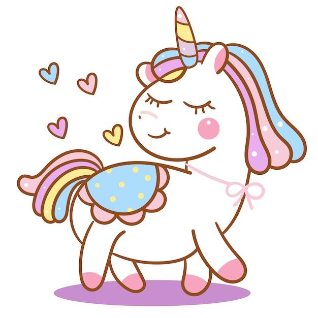 Vecteur de licorne mignon avec dessin animé coeur Vecteur Premium