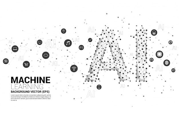 Vecteur ligne polygonale connecter ligne ai en forme. concept d'apprentissage automatique et d'intelligence artificielle. Vecteur Premium