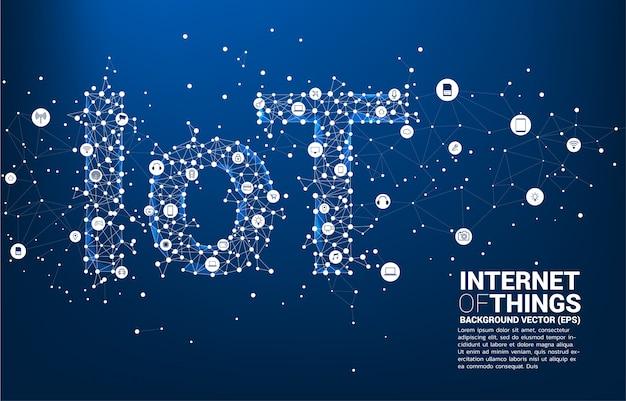 Vecteur Ligne Polygonale En Forme De Ligne Iot. Concept De Télécommunication Et Internet Des Objets. Vecteur Premium